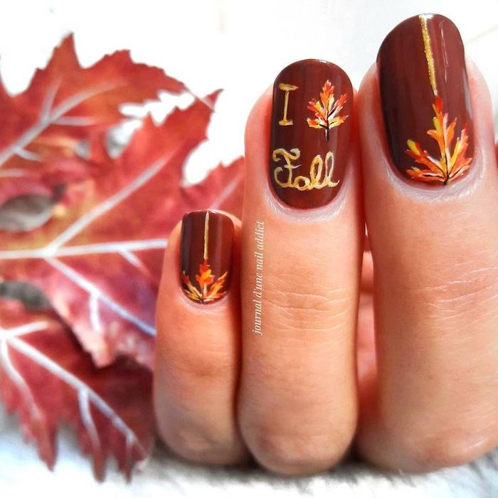 i love fall, dark red, nail polish, yellow and orange leaves, nail decorations, cute nail colors, squoval nails