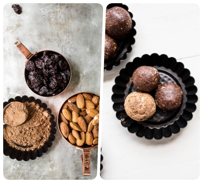 side by side photos, dates and almonds, cocoa in bowls, no bake protein balls, black bowls