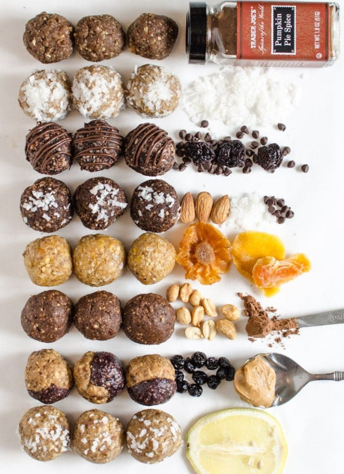different ingredients, no bake energy balls, different toppings, white background