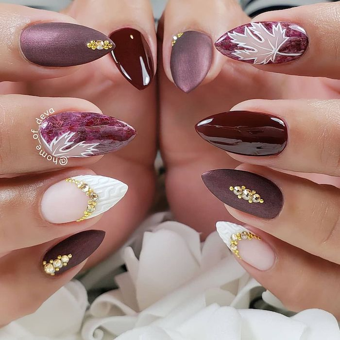 burgundy red, matte purple, nail polish, different nail decorations, cute nail colors, gold rhinestones