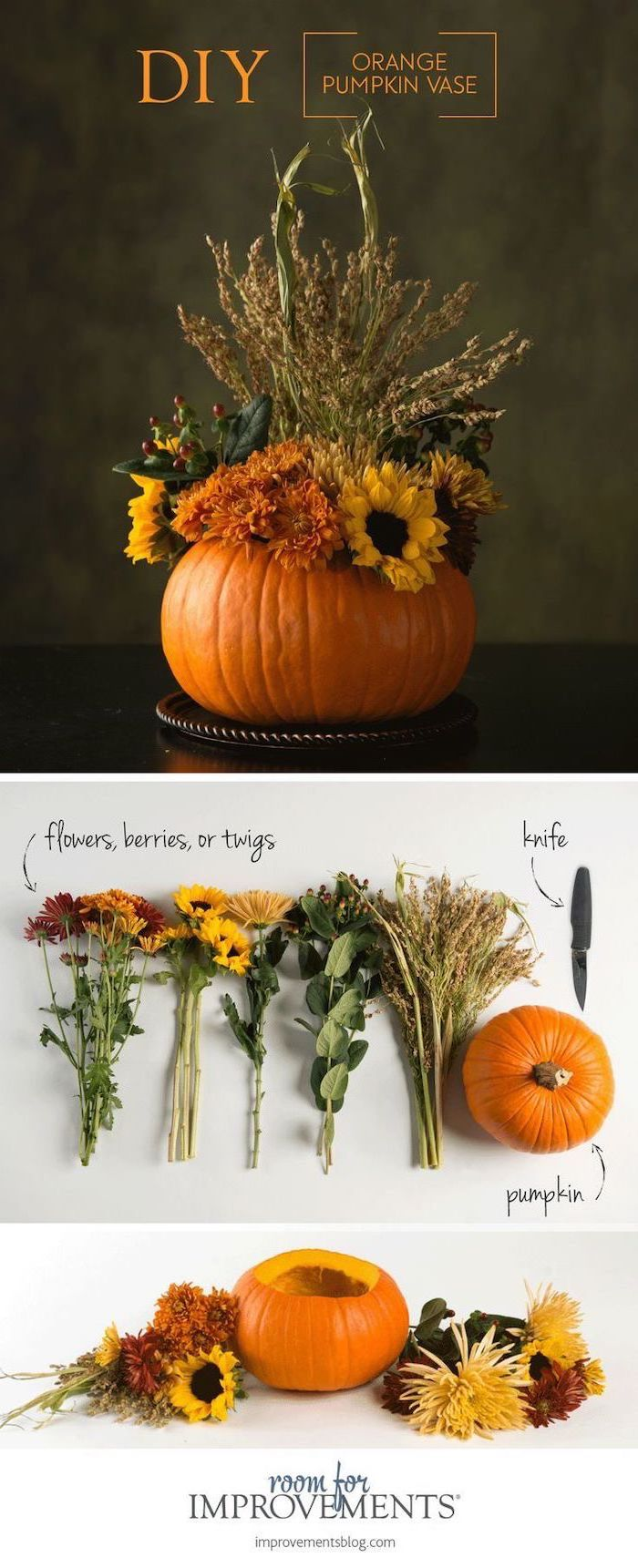 diy orange pumpkin vase, autumn decor, step by step, diy tutorial, faux flowers, photo collage