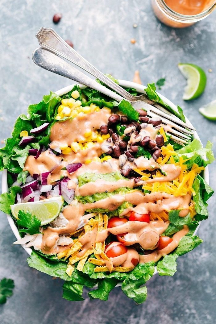 chicken salad, with tomatoes and corn, black beans, cheese and onion, what to cook for dinner tonight easy, two forks