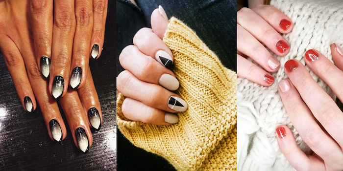 side by side photos, three different manicures, 2019 nail trends, white and black, red nail polish
