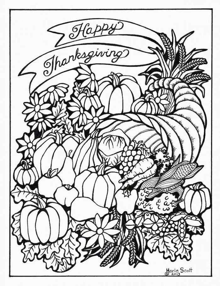happy thanksgiving, printable thanksgiving coloring pages, pumpkins and fall leaves, inside a cornucopia