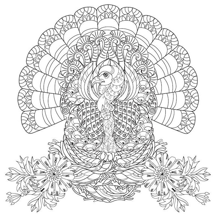 turkey with floral motifs, black and white sketch, thanksgiving coloring pages