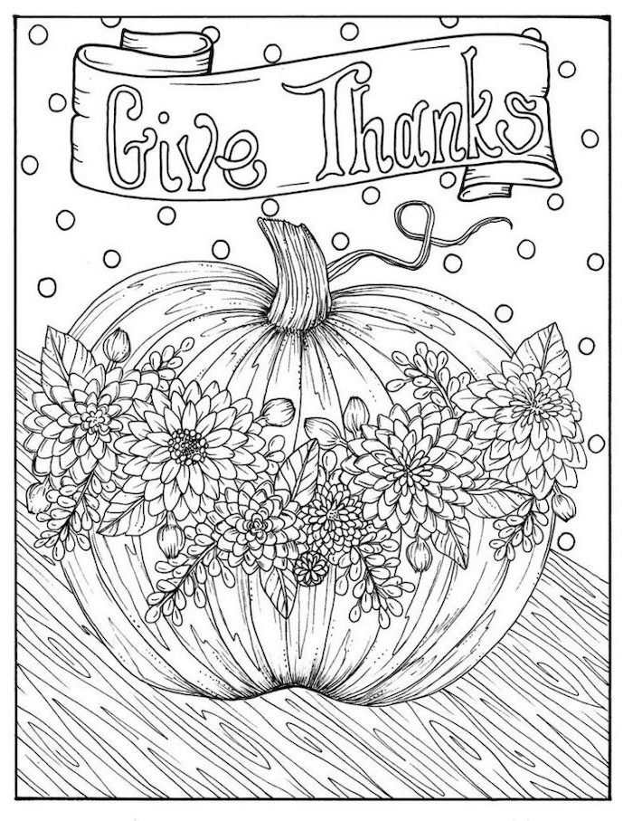 pumpkin with flowers, give thanks, black and white sketch, turkey coloring pages