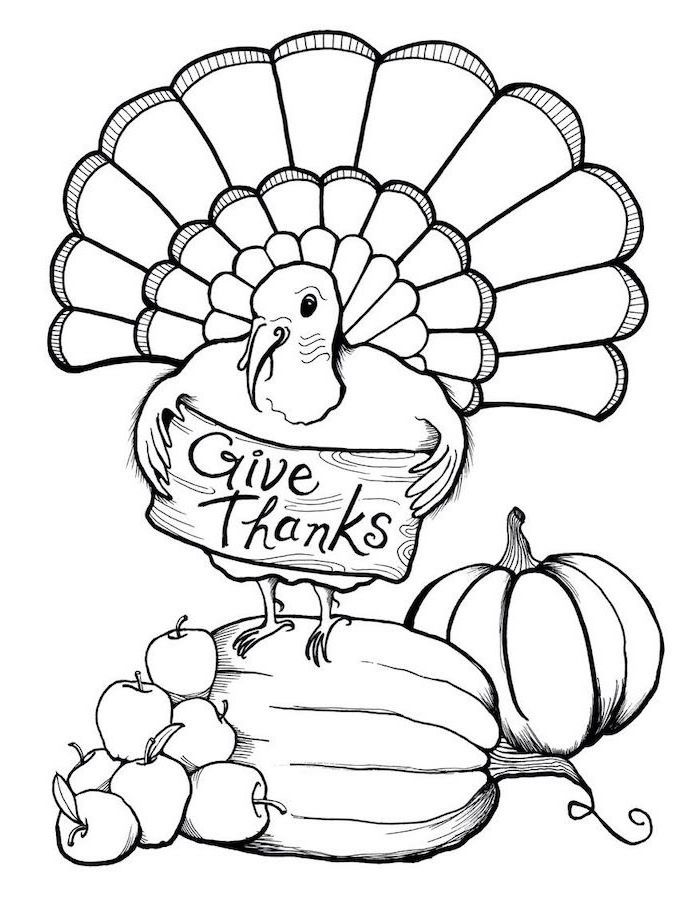 turkey standing on a pumpkin, apples on the side, give thanks, printable thanksgiving coloring pages