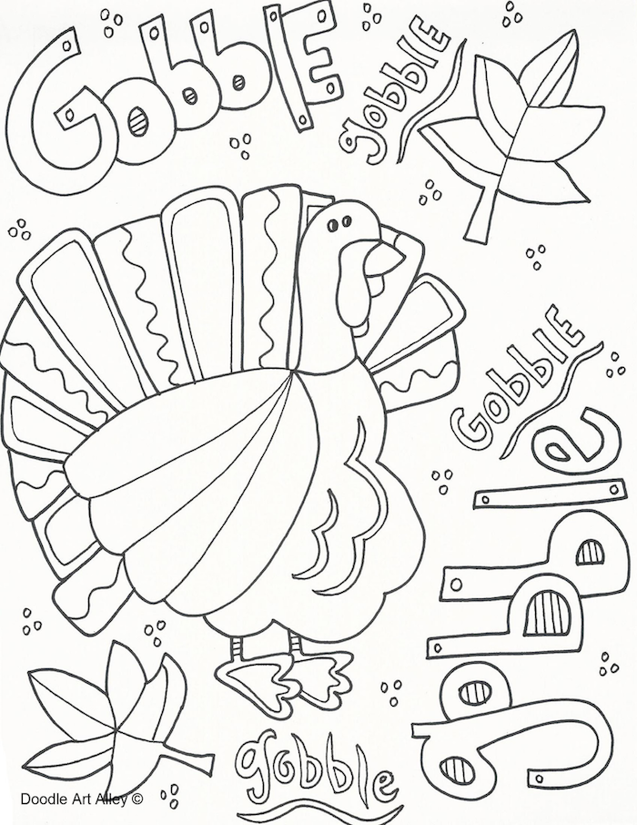 gobble gobble, written all over, turkey in the middle, turkey printable, fall leaves
