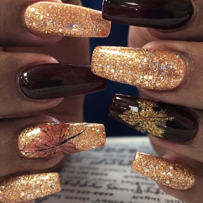 burgundy red, gold glitter, nail polish, 2019 nail trends, fall leaves, nail decorations, long squoval nails