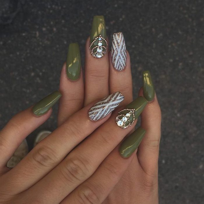 olive green, gold glitter, white nail polish, rhinestones on nails, long coffin nails, 2019 nail trends