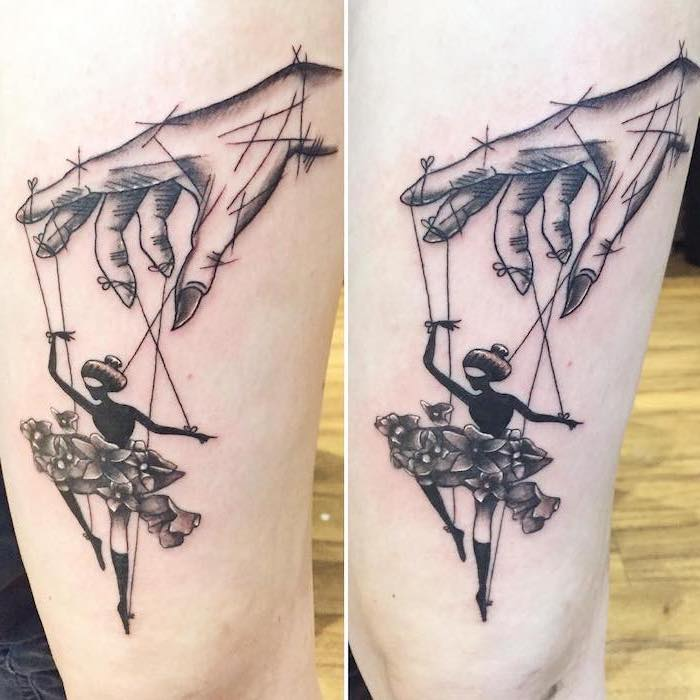 tattoo ideas for women, female doll, with floral skirt, puppeteer hand, side by side photos