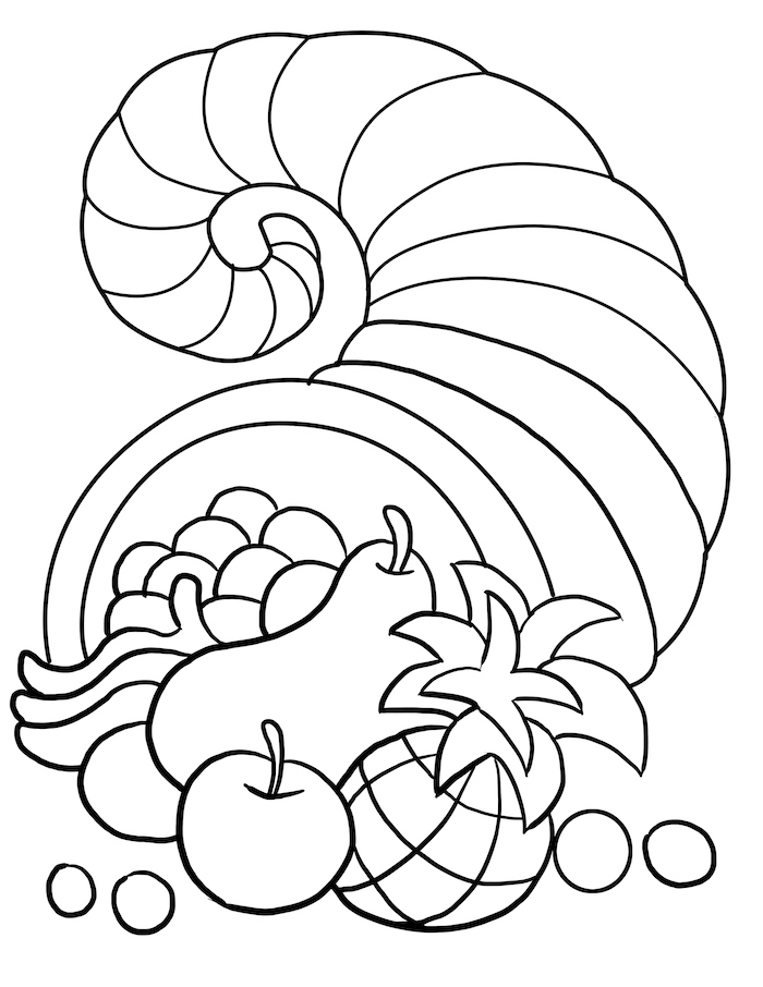 turkey printable, cornucopia full of fruits, pears and apples, grapes and pineapple, black and white sketch