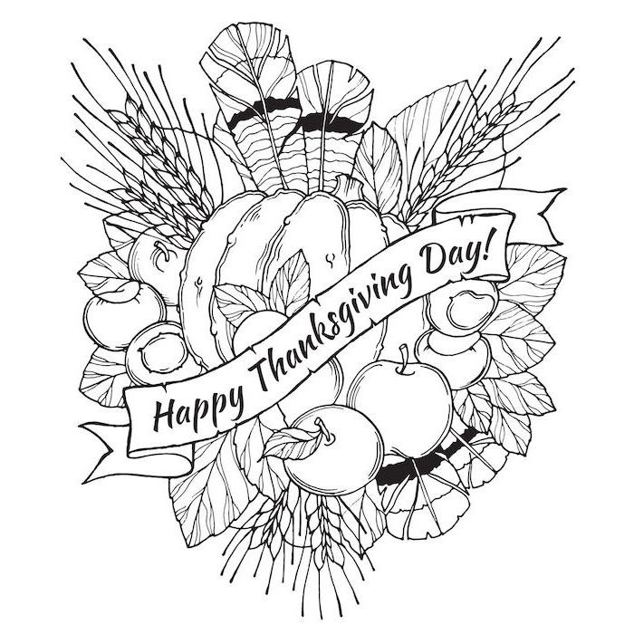 happy thanksgiving day, turkey coloring pages, pumpkin surrounded by apples, fall leaves