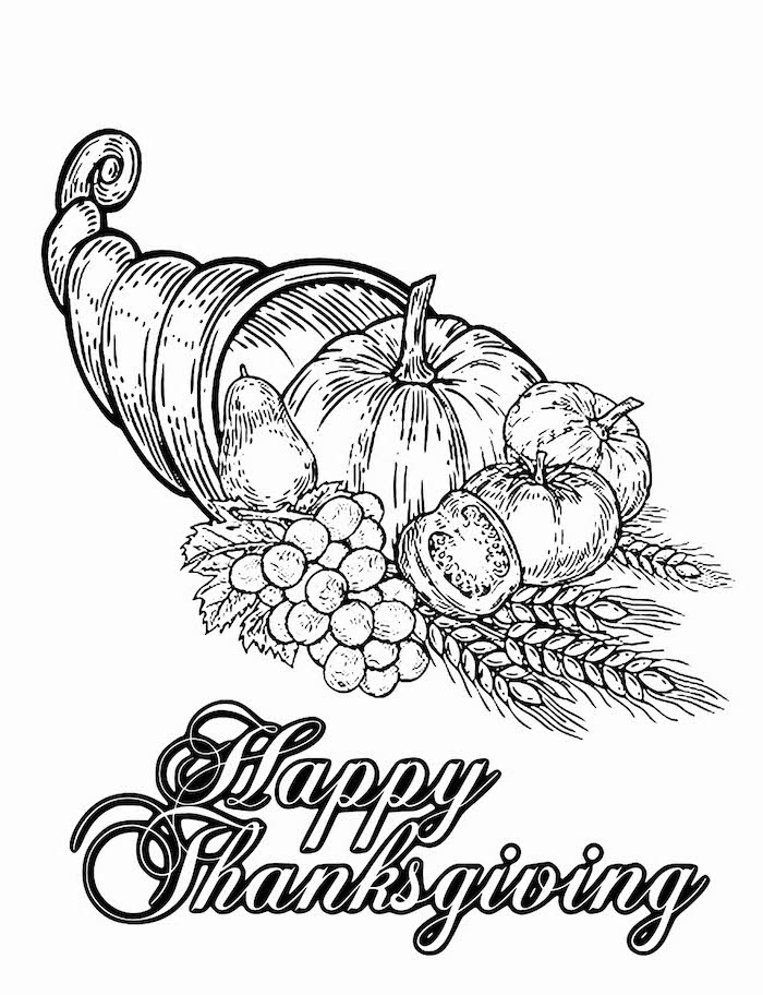 cornucopia with pumpkins, apples and grapes, turkey coloring pages, happy thanksgiving
