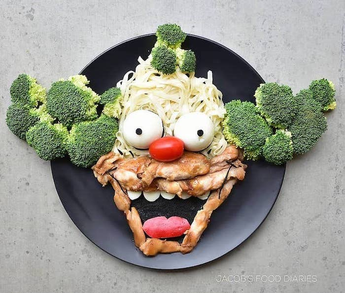 krusty the clown, the simpsons inspired, diet plans for women, broccoli and noodles, meat and eggs, black plate