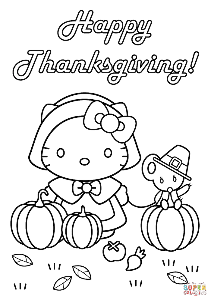 happy thanksgiving, hello kitty, pumpkins and apples, turkey printable, black and white sketch