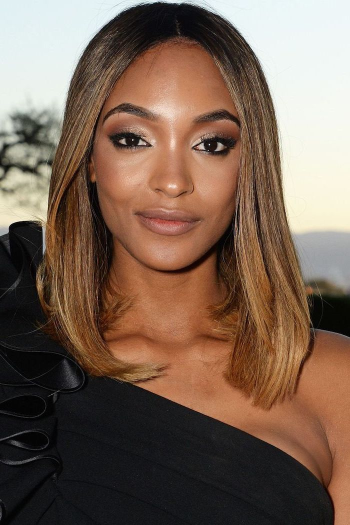 jourdan dunn, wearing a black dress, hairstyles for medium length hair, light brown straight hair
