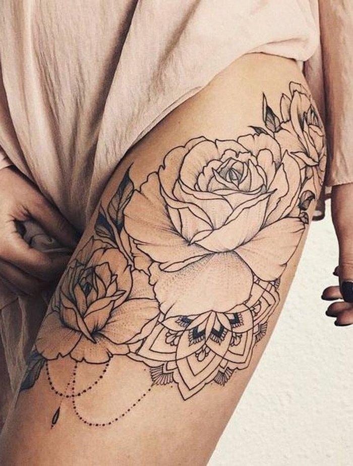 pink dress, three roses, with beads, thigh tattoo ideas, mandala flower tattoo, white background