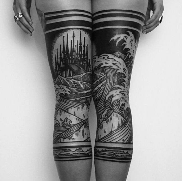 black and white photo, thigh tattoo ideas, giant waves, castle in the far distance, large tattoo, on both legs
