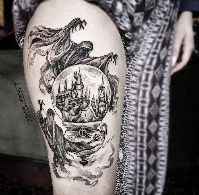 harry potter inspired, leg tattoos for women, dementors hovering over hogwarts, deathly hallows sign