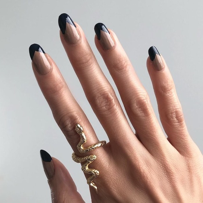 beige nail polish, black french manicure, fall nail ideas, almond nails, white background, gold snake ring