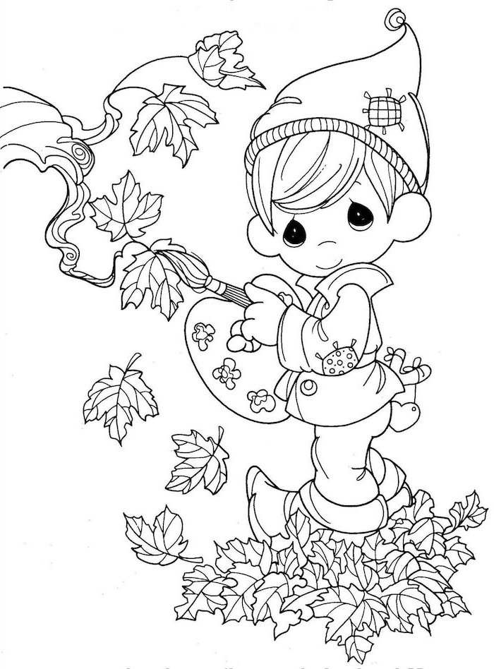 little boy, drawing fall leaves, black and white sketch, turkey printable, wearing a beanie