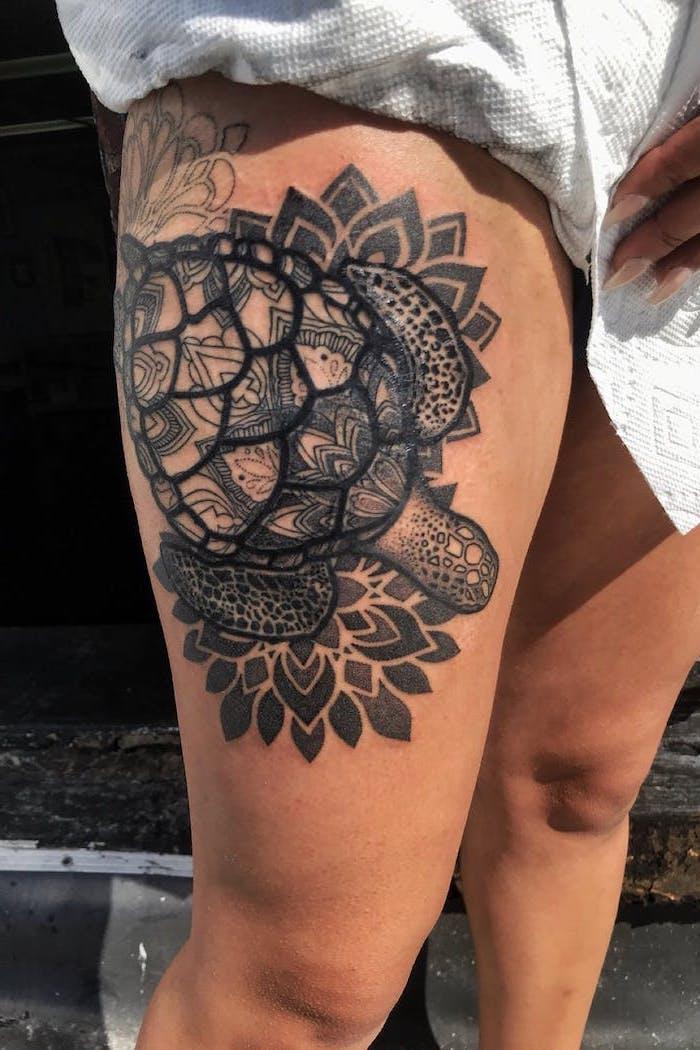 white paper napkins, leg tattoo ideas, mandala tattoo, floral tortoise