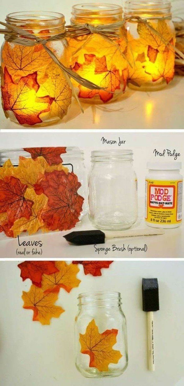 fall leaves, glued to a mason jar, pinterest thanksgiving, candles inside, step by step, diy tutorial