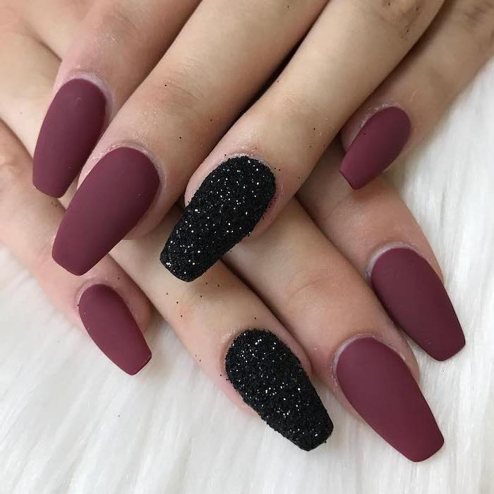 burgundy red, matte nail polish, autumn nails, black glitter, white background, long coffin nails