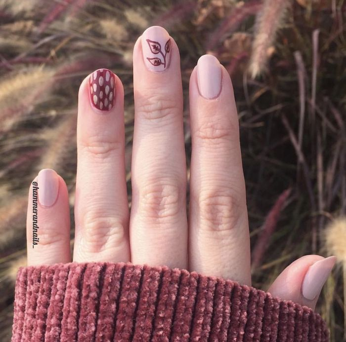 short almond nails, nude nail polish, autumn nails, leaves on a branch, nail decorations, red velvet sweater