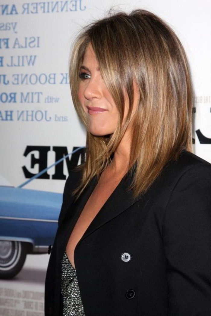 jennifer aniston, wearing a black blazer, medium length haircuts for women, light brown hair side swept