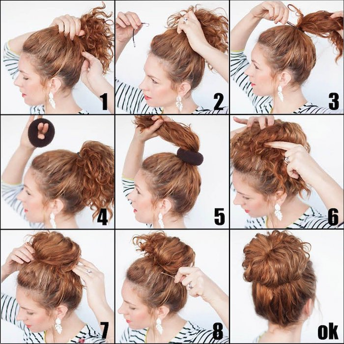 photo collage, messy bun, step by step diy tutorial, medium length haircuts for women, woman with red hair
