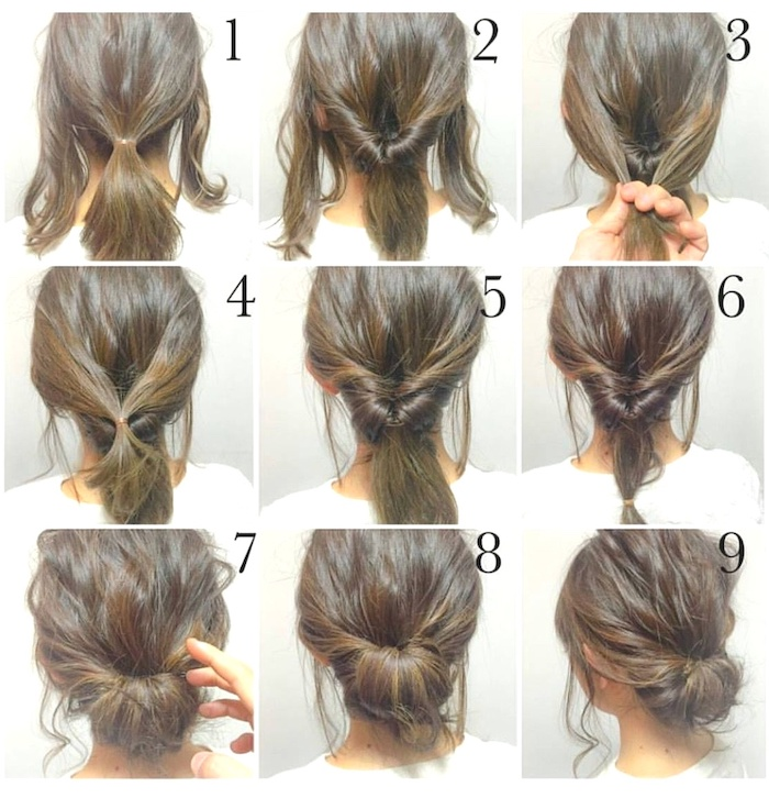 step by step diy tutorial, low chignon on brown hair, medium length haircuts for women, photo collage