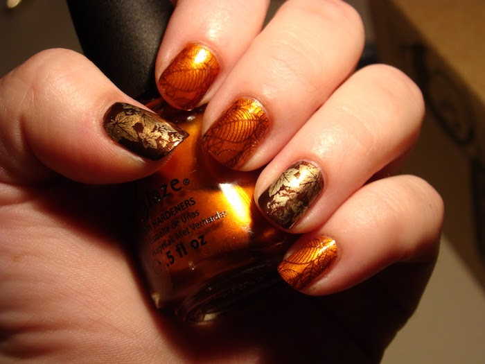 orange and brown, nail polish, fall leaves, nail decorations, nail polish bottle, cute fall nails, short nails