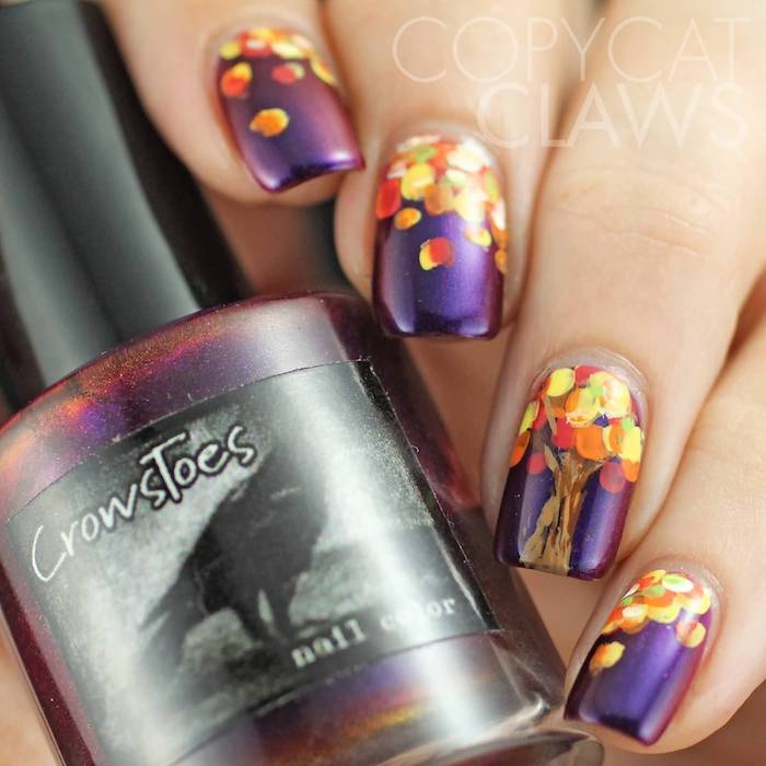 purple metallic, nail polish, orange and yellow, fall leaves, nail decorations, cute fall nails, squoval nails