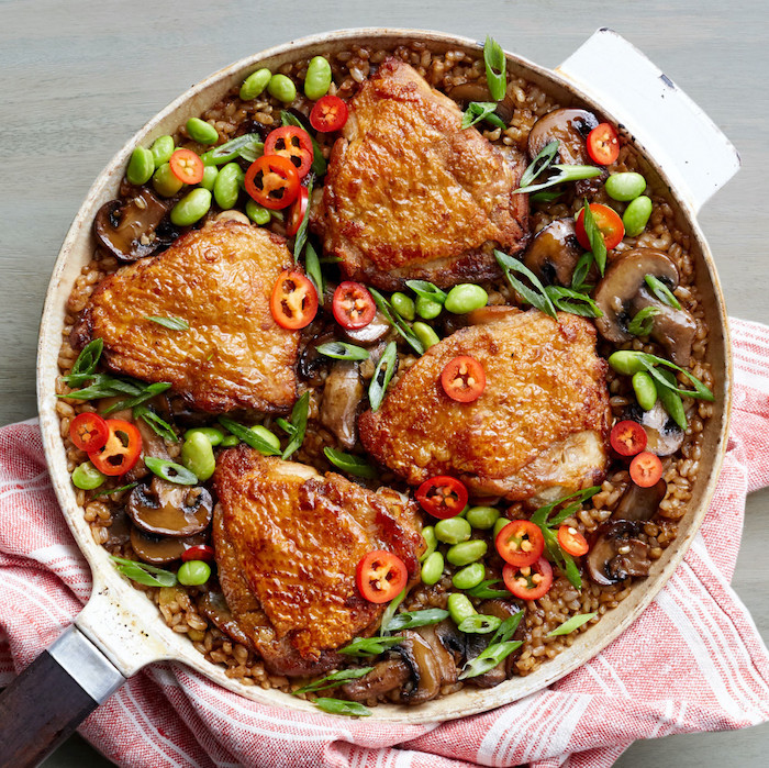 miso ginger chicken rice, cooked in a skillet, easy dinner recipes for beginners, beans and peppers on top