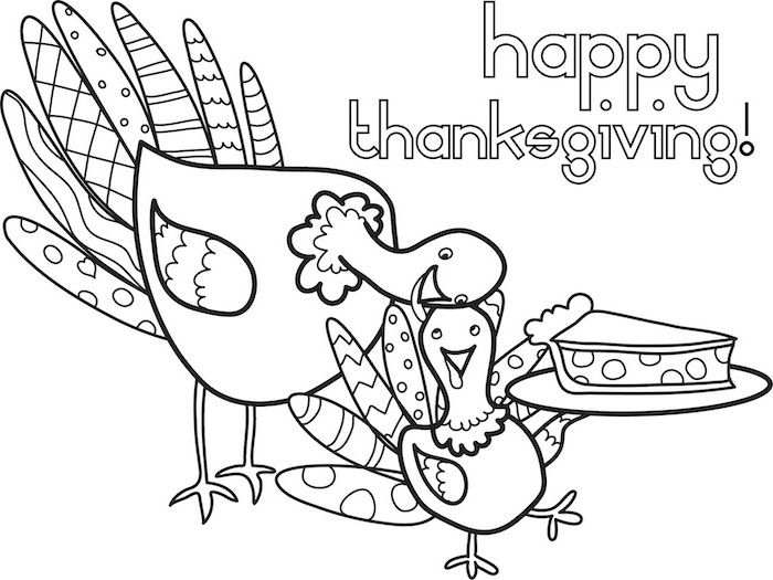 free thanksgiving coloring pages, happy thanksgiving, mother turkey, baby turkey, holding a pie