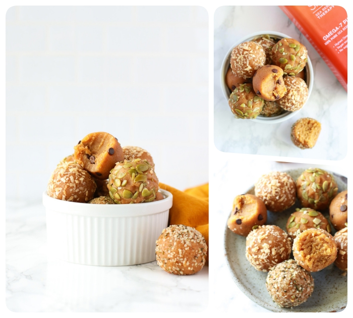 peanut butter, no bake energy bites, with pistachio nuts, coconut flakes, in white bowls, photo collage