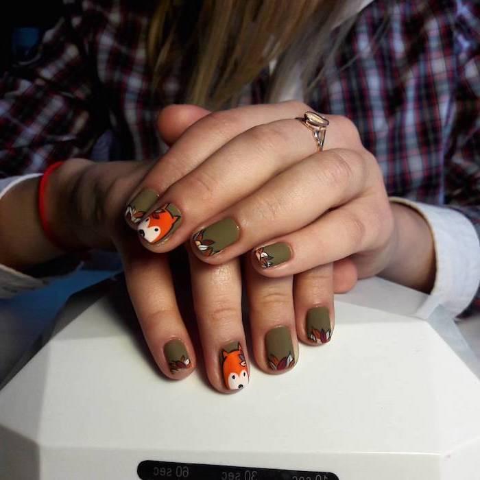 olive green, nail polish, orange fox, nail decorations, cute fall nails, flannel shirt, gold ring, squoval nails