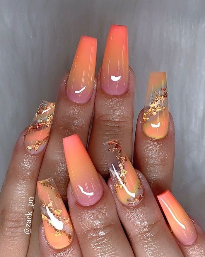light nail colors, orange and pink, nail polish, ombre nails, gold glitter, nail decorations, long coffin nails