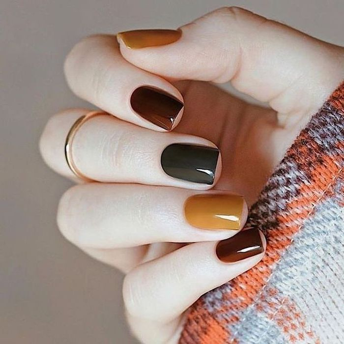orange and grey sweater, short nails, light nail colors, orange and grey, burgundy red, nail polish