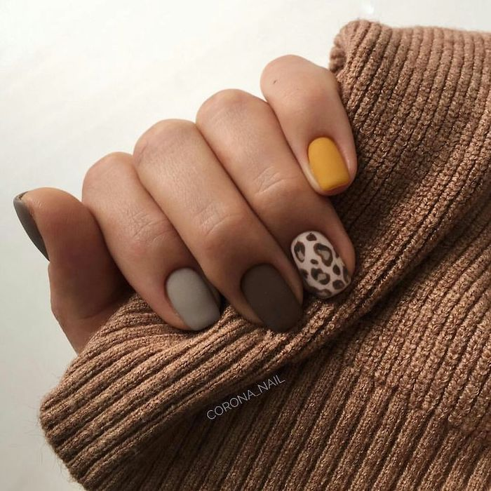 yellow and brown, grey and leopard print, matte nail polish, brown sweater, squoval nails, neutral nail colors