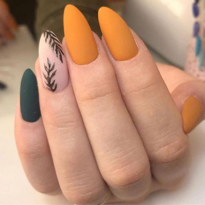 orange and green, matte nail polish, tree branches, nail decorations, light nail colors, almond nails