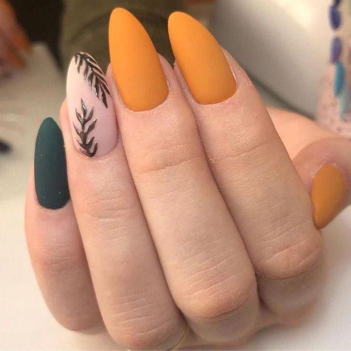 orange and green, matte nail polish, tree branches, nail decorations, light nail colors, almond nails
