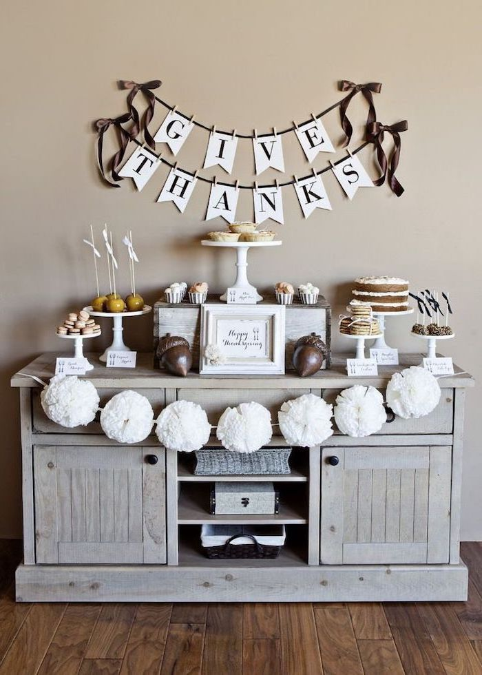 give thanks banner, rustic decor, dessert table, pinterest thanksgiving, white cake stands, wooden floor