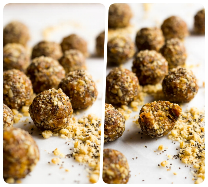 side by side photos, peanut butter oat balls, with nuts, chia seeds, scattered on white table