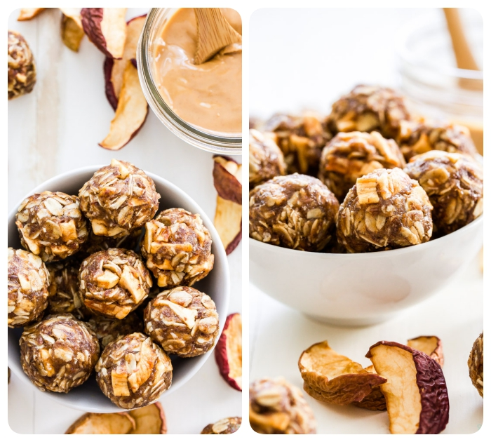 white wooden table, dried apples, peanut butter oat balls, with nuts, in a white bowl, side by side photos
