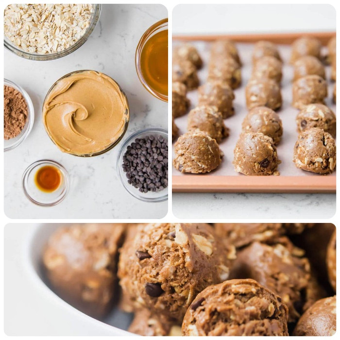 side by side photos, ingredients in glass bowls, no bake energy bites, arranged on a tray