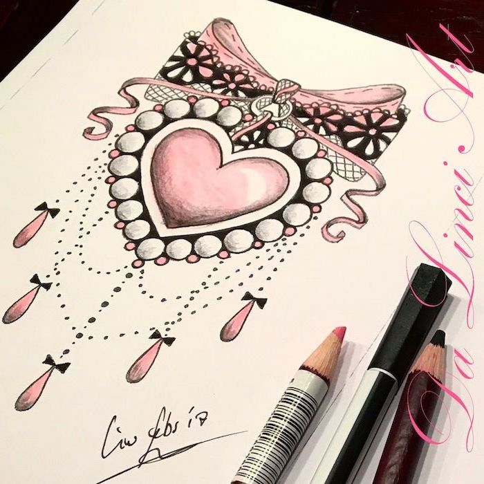 pencil sketch, pink heart and bow, pink beads, leg tattoos for girls, white background