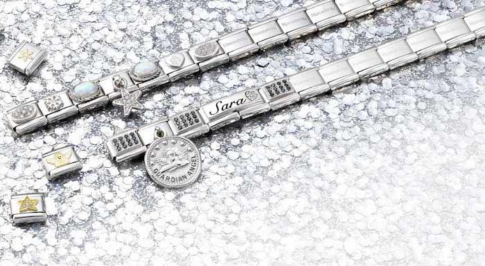 two bracelets, guardian angel, personalised to sara, christmas gift ideas, rhinestones underneath
